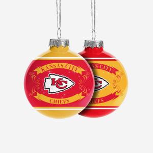 Kansas City Chiefs 2 Pack Ball Ornament Set