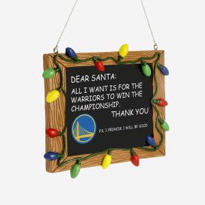 Golden State Warriors Resin Chalkboard Sign Ornament