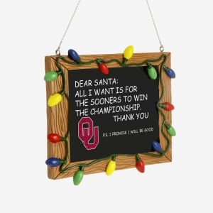 Oklahoma Sooners Resin Chalkboard Sign Ornament