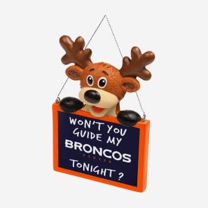 Denver Broncos Reindeer With Sign Ornament