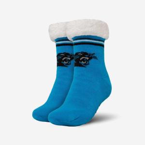 Carolina Panthers Womens Stripe Logo Tall Footy Slipper Socks