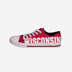 Wisconsin Badgers Mens Low Top Big Logo Canvas Shoe - 7