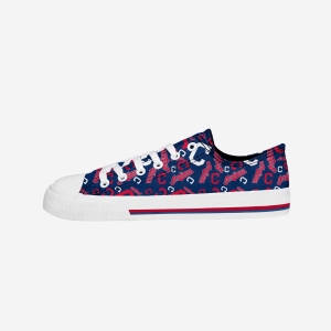 Cleveland Indians Womens Low Top Repeat Print Canvas Shoe - 8
