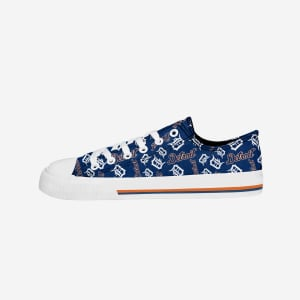 Detroit Tigers Womens Low Top Repeat Print Canvas Shoe - 6