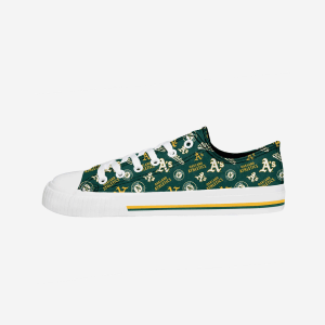 Oakland Athletics Womens Low Top Repeat Print Canvas Shoe - 9