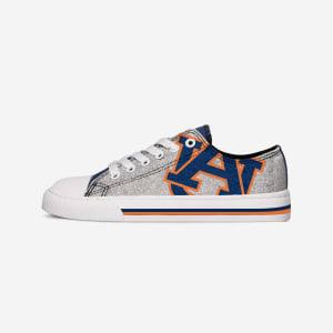 Auburn Tigers Womens Glitter Low Top Canvas Shoe - 9