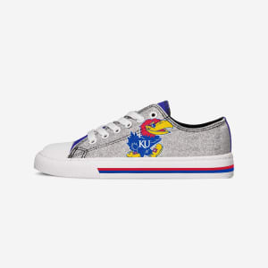 Kansas Jayhawks Womens Glitter Low Top Canvas Shoe - 6