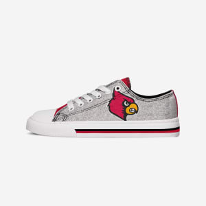 Louisville Cardinals Womens Glitter Low Top Canvas Shoe - 10