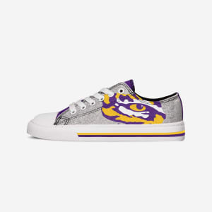 LSU Tigers Womens Glitter Low Top Canvas Shoe - 6