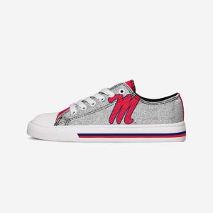 Ole Miss Rebels Womens Glitter Low Top Canvas Shoe - 7
