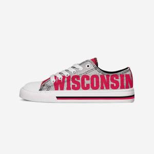 Wisconsin Badgers Womens Glitter Low Top Canvas Shoe - 10