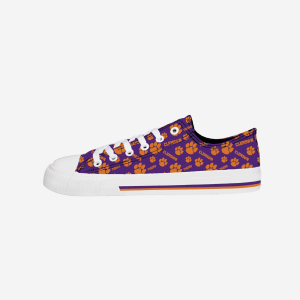 Clemson Tigers Womens Low Top Repeat Print Canvas Shoe - 9
