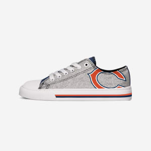 Chicago Bears Womens Glitter Low Top Canvas Shoe - 10