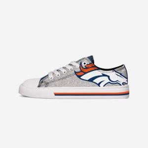 Denver Broncos Womens Glitter Low Top Canvas Shoe - 6