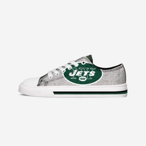New York Jets Womens 1998-2018 Glitter Low Top Canvas Shoe - 10
