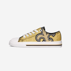 New Orleans Saints Womens Glitter Low Top Canvas Shoe - 8