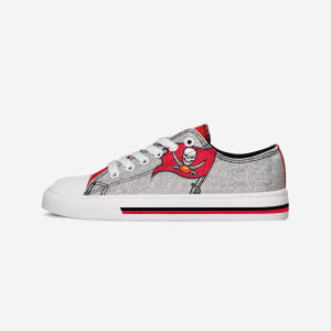 Tampa Bay Buccaneers Womens Glitter Low Top Canvas Shoe - 6