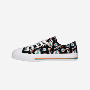 Miami Dolphins Womens Low Top Repeat Print Canvas Shoe - 6