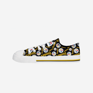 Pittsburgh Steelers Womens Low Top Repeat Print Canvas Shoe - 9