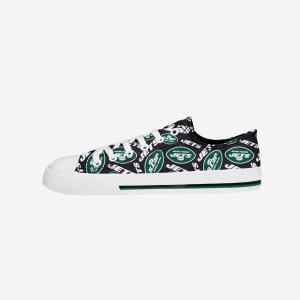 New York Jets Womens Low Top Repeat Print Canvas Shoe - 6