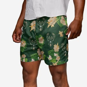 Milwaukee Bucks Floral Swimming Trunks - XL
