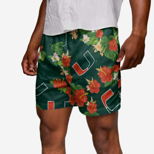 Miami Hurricanes Floral Swimming Trunks - S