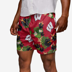 Wisconsin Badgers Floral Swimming Trunks - S