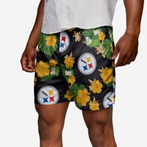 Pittsburgh Steelers Floral Swimming Trunks - L