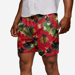 Chicago Blackhawks Floral Swimming Trunks - L