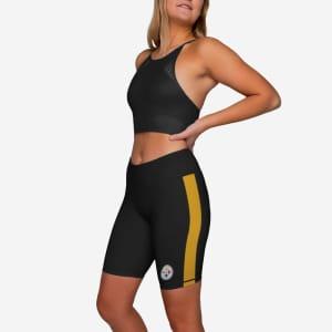 Pittsburgh Steelers Striped Bike Shorts - L