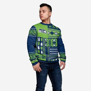 Seattle Seahawks Patches Ugly Crew Neck Sweater - S