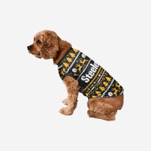 Pittsburgh Steelers Dog Family Holiday Sweater - M