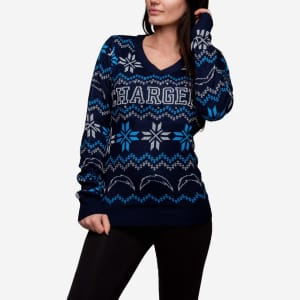 Los Angeles Chargers Womens Light Up V-Neck Bluetooth Sweater - M