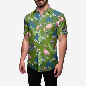 Seattle Sounders FC Floral Button Up Shirt - L