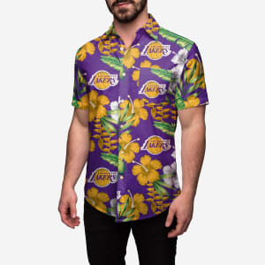 Los Angeles Lakers Floral Button Up Shirt - 3XL