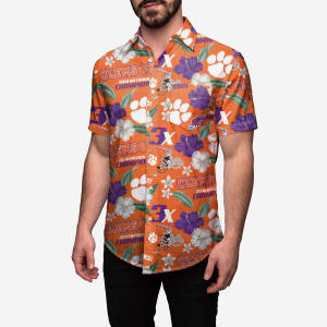 Clemson Tigers 2018 Football National Champions Floral Button Up Shirt - S