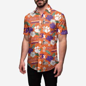 Clemson Tigers 2018 Football National Champions Floral Button Up Shirt - L