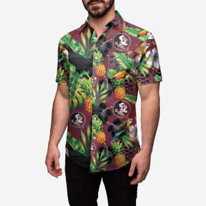 Florida State Seminoles Floral Button Up Shirt - S