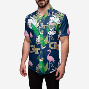 Georgia Tech Floral Button Up Shirt - 3XL