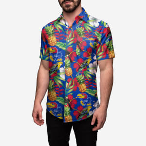 Kansas Jayhawks Floral Button Up Shirt - M