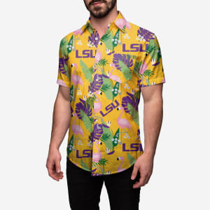 LSU Tigers Floral Button Up Shirt - 2XL