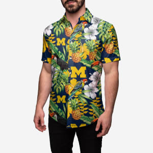 Michigan Wolverines Floral Button Up Shirt - L