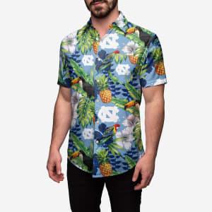 North Carolina Tar Heels Floral Button Up Shirt - 2XL
