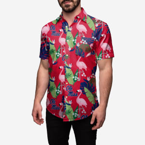 Ole Miss Rebels Floral Button Up Shirt - 3XL