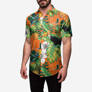 Miami Hurricanes Floral Button Up Shirt - 3XL