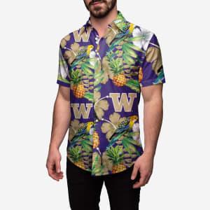 Washington Huskies Floral Button Up Shirt - L
