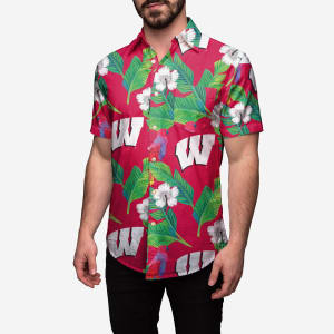 Wisconsin Badgers Floral Button Up Shirt - L