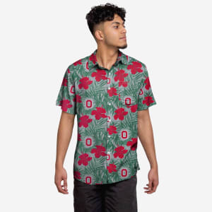 Ohio State Buckeyes Hibiscus Button Up Shirt - L