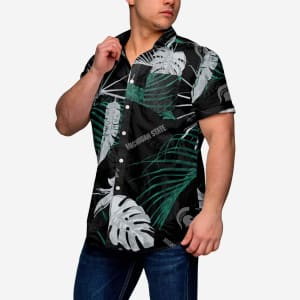 Michigan State Spartans Neon Palm Button Up Shirt
