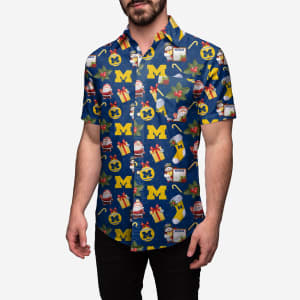 Michigan Wolverines Christmas Explosion Button Up Shirt - M